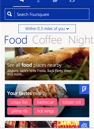 Оновлений Foursquare приходить на Windows Phone